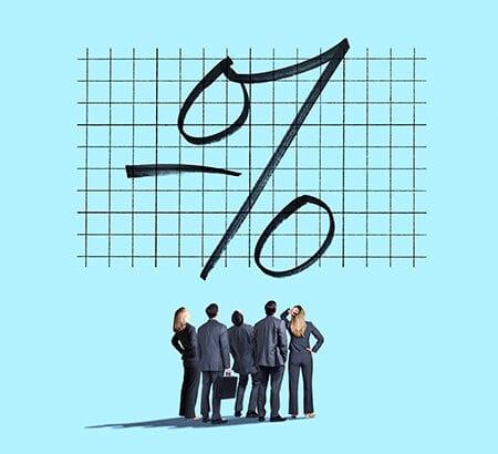 Illustration von Männern die ein Prozentzeichen ansehen