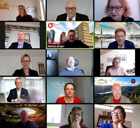 Ein Bild der Teilnehmer des DUB Zoom Calls die über den Einfluss von Corona auf den Mittelstand reden