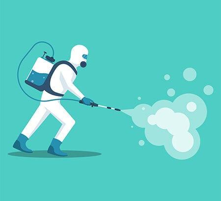 Mann bekämpft zum Schutz Viren