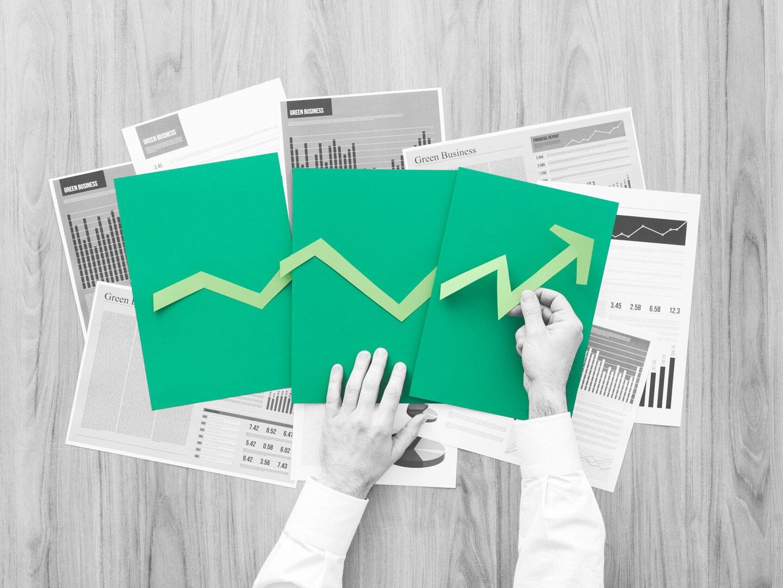 Hände sortieren Aktiencharts