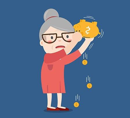 Illustration einer älteren Dame die eine Spardose in der Hand hat aus der ein paar Münzen fliegen
