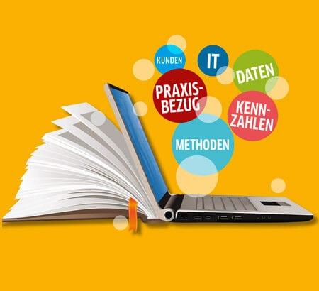 Ein Laptop mit Begriffen darüber rund um Führung und Digitalisierung