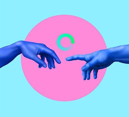Illustration von zwei Händen, dessen Finger auseinander zeigen und dazwischen ein Ladezeichen zu sehen ist