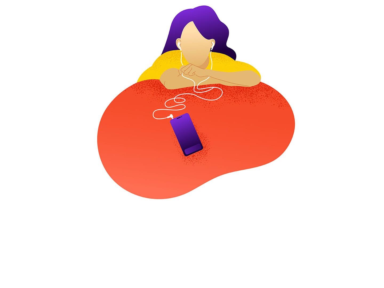 Illustration einer Frau die über das Smartphone Audioinhalte hört