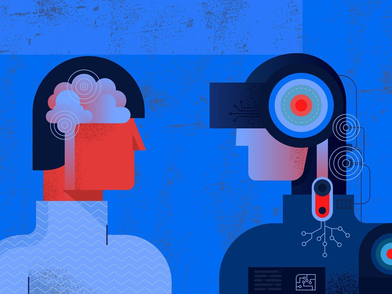 Illustration von zwei digitalen Menschen