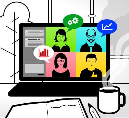 Ein Laptop der ein digitales Meeting zeigt, davor steht eine Kaffeetasse
