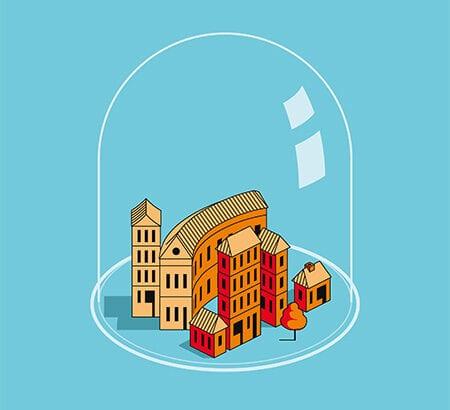 Eine Illustration einer Stadt unter einer Glasglocke. Eine Anlehnung von Tübingen zu Zeiten von Corona