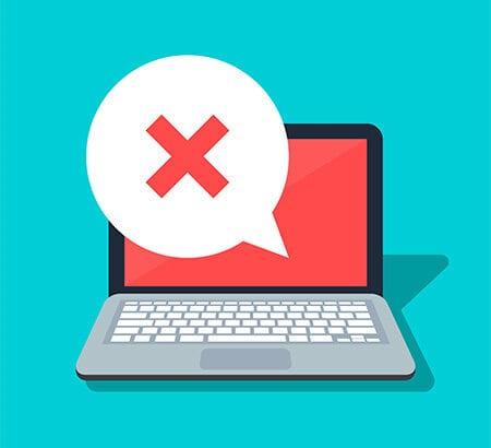 Illustration eines Computers auf dem ein rotes X zu sehen ist