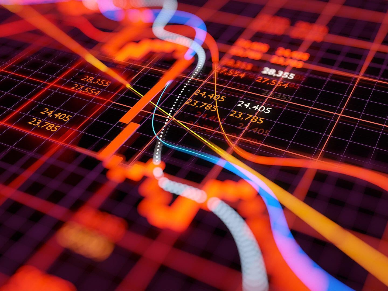 Ein Bildschrim zeigt Aktienkurse
