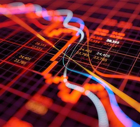 Ein Bildschirm zeigt Aktienkurse
