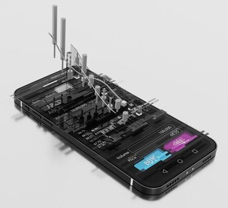Ein Smartphone zeigt Börsenkurse