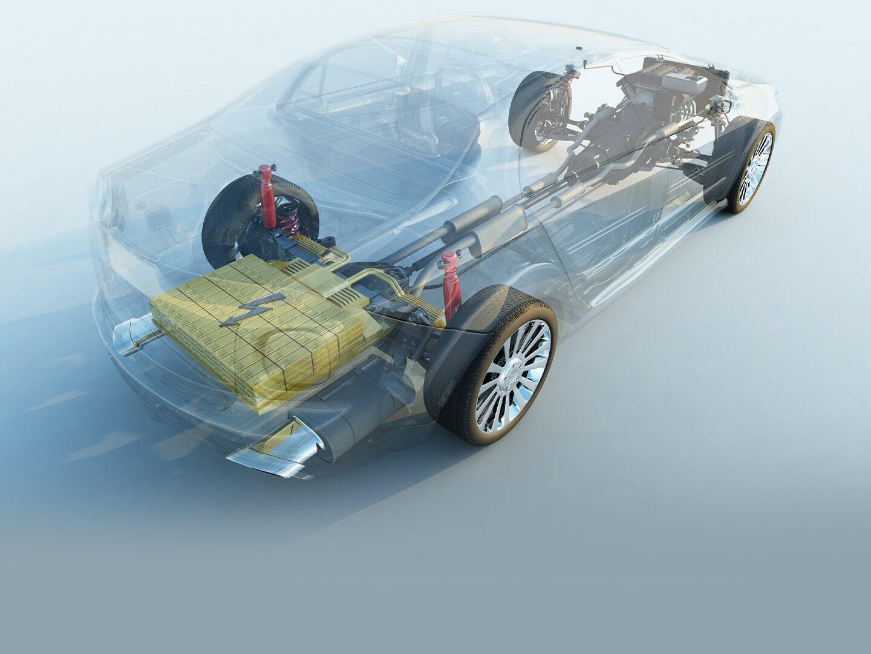 Fahrzeugsilhouette eines E-Autos ist angedeutet, im Heck befindet sich eine große Batterie. Blick von schräg oben.