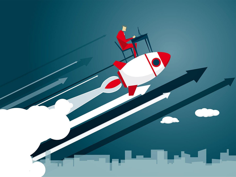 Mann sitzt auf startender Rakete und fliegt in die Luft. Comicartige Darstellung.