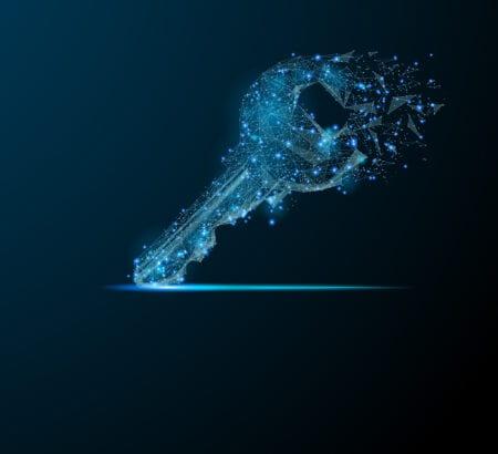 Ein digitaler Schlüssel auf schwarzen Hintergrund