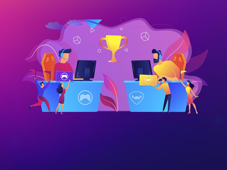 Zwei Menschen sitzen vor einem Computerbildschirm und haben ein Headset auf. Vor ihren Schreibtischen jubeln ihnen vier kleinere Menschen zu. Im Hintergrund schwebt eine Trophäe über allem.