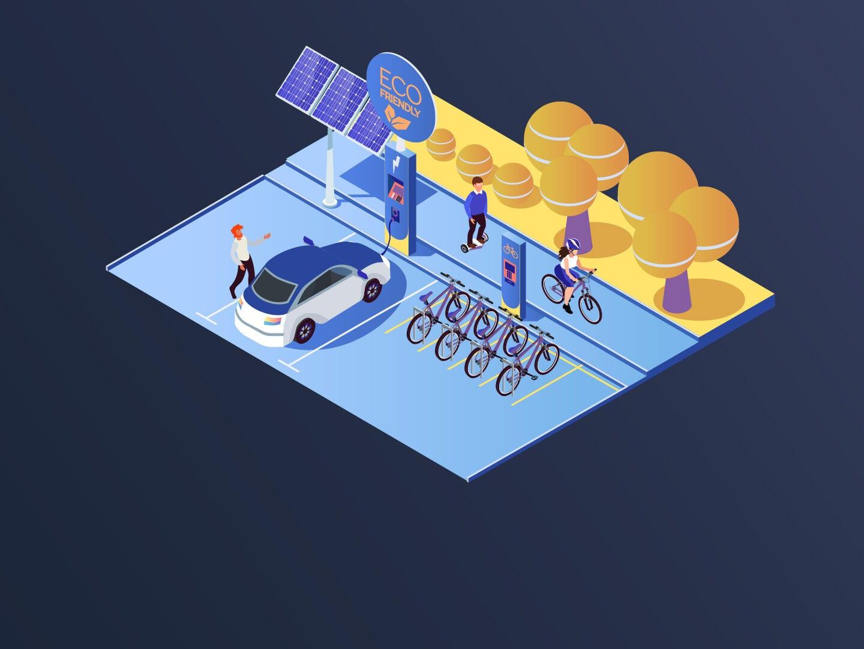 Ein Elektroauto und- mehrere E-Bikes werden an einer Ladestation durch die Energie aus Solarzellen aufgeladen. Im Hintergrund fährt ein Mensch auf einem Hoverboard und einer auf einem E-Bike.