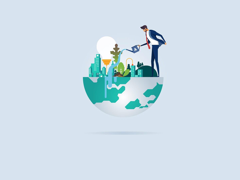 Ein Mann gießt mit einer Gießkanne Wasser auf eine Stadt, die mit Häusern und Pflanzen sowie Bäumen gesäumt ist. Das Wasser fließt in die halbe Erde. Im Hintergrund rankt noch eine Glühbirne.