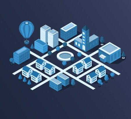 Das Bild zeigt ein Stadt von oben, die kachelförmig in verschiedene Bereiche aufgeteilt ist. Neben einer Kirche, Wohnhäusern, Bäumen, Bürogebäuden und einem Brunnen im Zentrum der Stadt schwebt noch ein Heißluftballon über der Szenerie.
