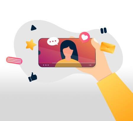 Illustration eines Smartphones mit einem Influenzier auf dem Bildschirm