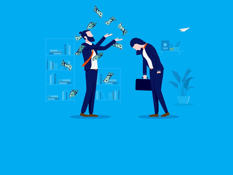 Illustration von einer Frau und einem Mann, wobei der Mann Geldscheine in die Luft wirft