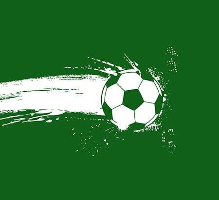 Ein gemalter Fußball vor einem grünen Hintergrund