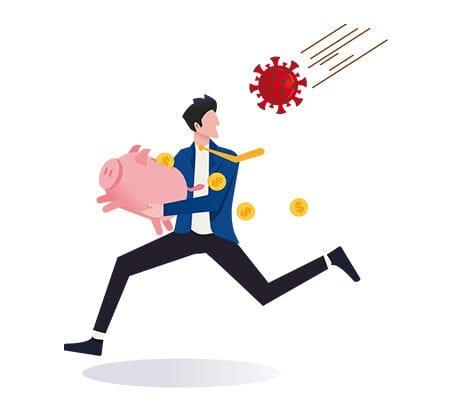 Illustration eines Mann mit einem Sparschwein in der Hand, der vor einem Coronavirus davon rennt