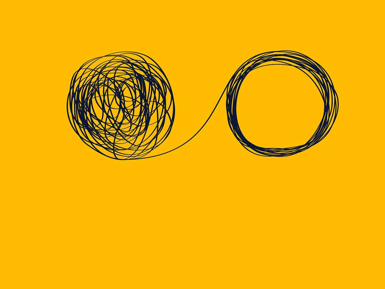 Eine Schnur mit Kreisen symbolisiert Veränderung