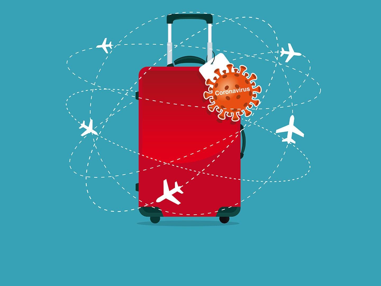 Ein Koffer, an dem ein Coronavirus hängt und der von Flugzeugen umkreist wird