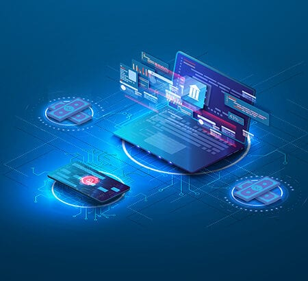 Rund um einen Laptop sind eine Kreditkarte, zwei Stapel Geldscheine sowie Nachrichten-Fenster mit Beschreibungen versammelt.
