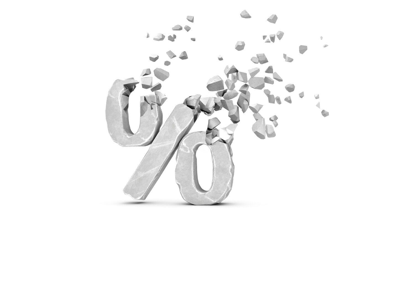 Ein Prozentzeichen zerbröckelt.