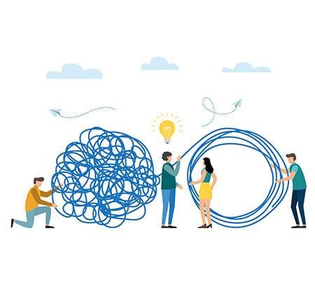 Aus einem großen Knäuel an Ideen wird nach einem Geistesblitz ein Kreis mit linearen Linien gemacht. Comichefte Darstellung.