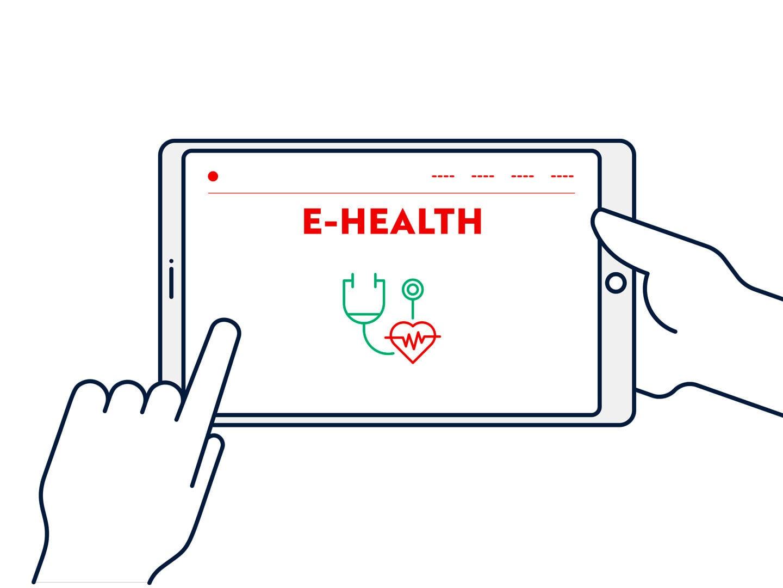 Linke Hand wischt auf einem Tablet, auf dem E-Health steht. Comichafte Darstellung.