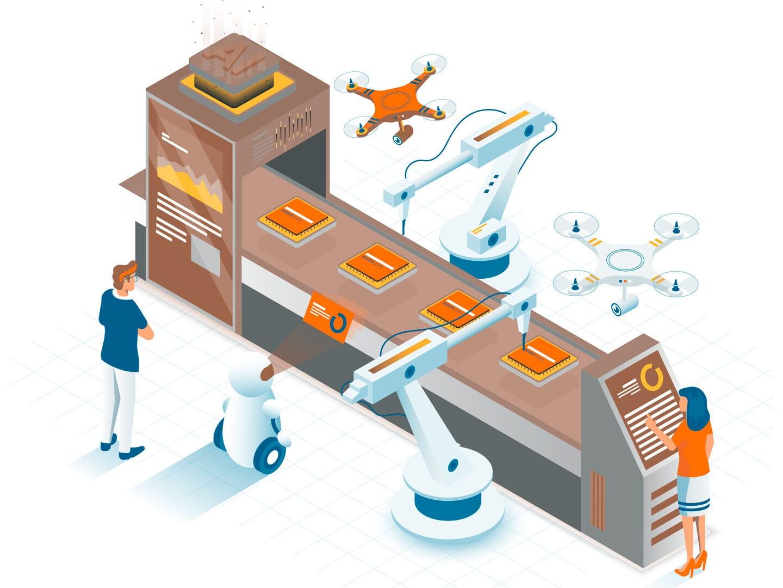 Illustration einer automatisierten Produktionsstraße