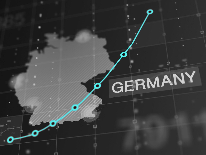 Eine Deutschlandkarte mit einem Aktienkurs.