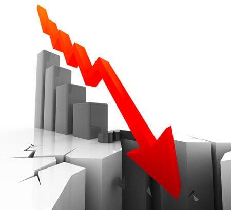 Ein Aktienkurs stürzt ab.