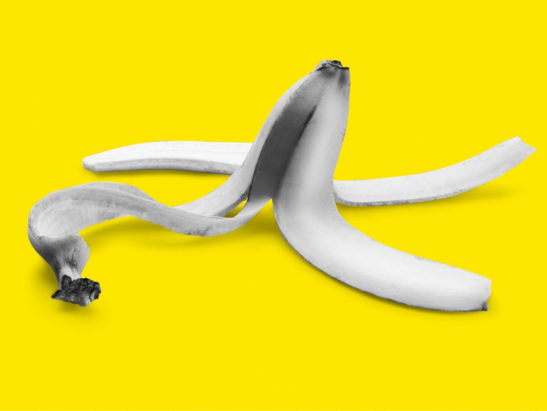 Achtung, Rutschgefahr: eine Bananenschale