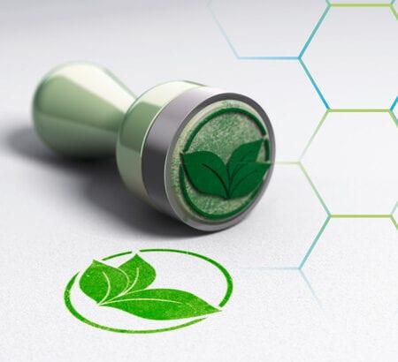 grüner Stempel mit Blatt