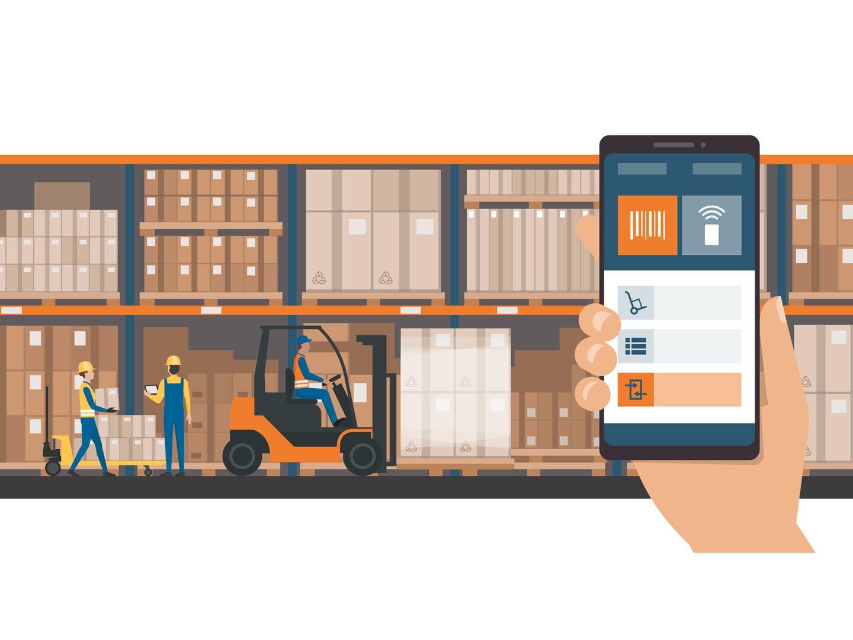 Links ist ein Gabelstapler zu sehen, der Paletten transportiert, rechts im Vordergrund hält eine Hand ein Smartphone und steuert damit Logistikprozesse. Grafische Darstellung.