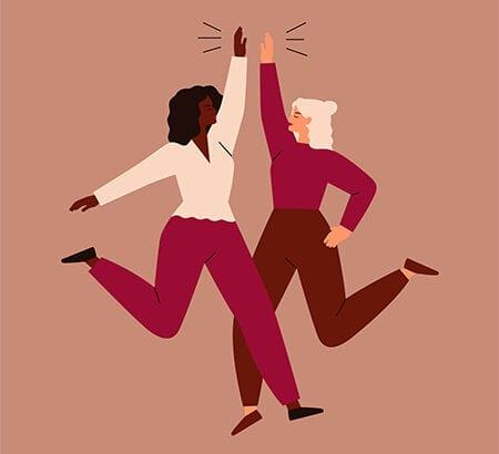 Illustration von zwei Frauen die sich in die Hände klatschen