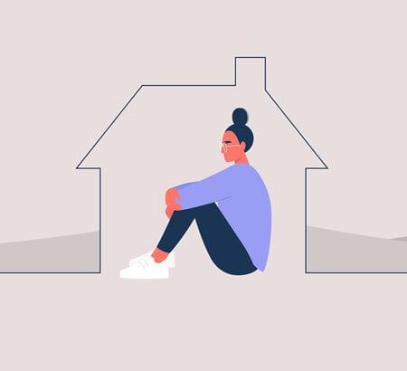 Illustration einer Frau die alleine in ihrem Haus sitzt