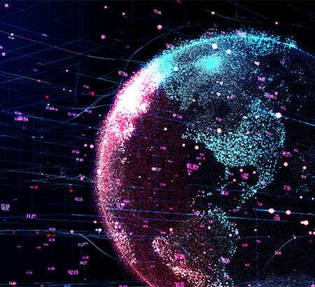 Eine Weltkugel mit binären Zahlen