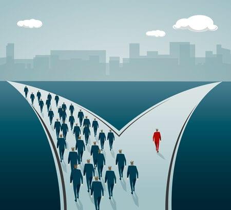 Wie Unternehmer geht in eine andere Richtung als alle anderen