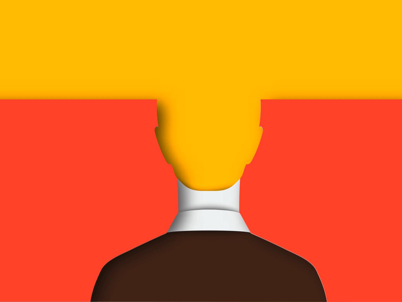 Illustration eines Kopfes der im Hintergrund verschwimmt