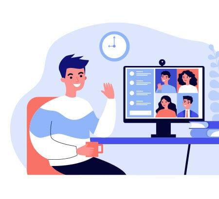 Illustration eines Mannes der im Homeoffice ist und sich virtuell mit Kolleg:innen austauscht