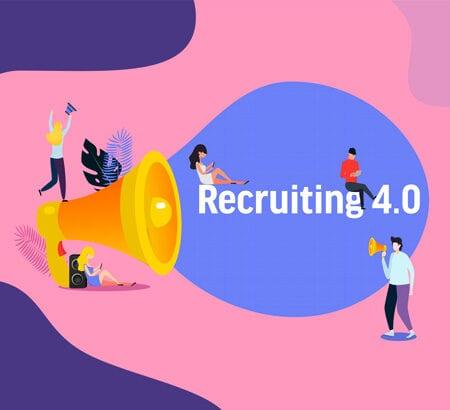 Megafon mit jungen Menschen, die auf dem Schriftzug Recruiting 4.0 sitzen. Comicartige Darestellung.