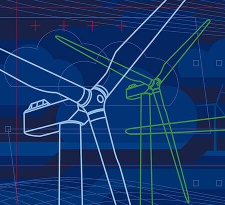 Grüne Technologie: Eine technische Skizze von Windrädern