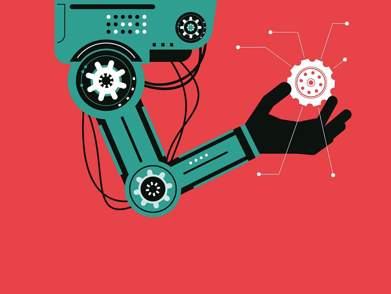 Ein grüner Roboterarm ragt von oben in das Bild auf rotem Hintergrund rein. Er hat eine menschliche schwarze Hand, die einen weißes Zahnrad zwischen Daumen und Zeigefinger hält. Comicartige Darstellung.