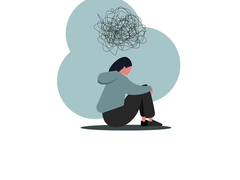 Illustration einer Frau die mit verschränkten Knien auf den Boden sitzt und grübelt
