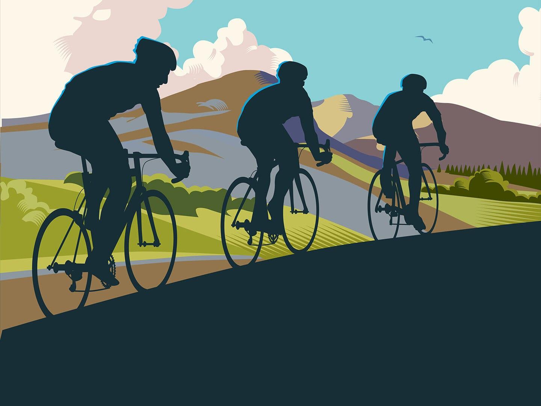 Illustration von drei Fahrradfahrern die durch eine bergige Landschaft fahren
