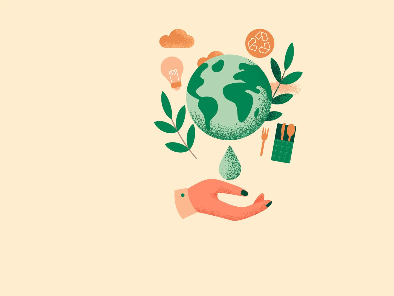Eine grüne Erde schwebt über einer ausgestreckten, menschlichen Hand. Um die Erde herum ist ein Recycling-Zeichen, eine Glühbirne, Regenwolken, grüne Zweige und Ess-Besteck. Ein Tropfen gleitet von der Erde in die offene Hand.